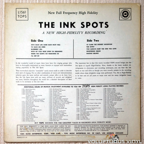 The Ink Spots ‎– The Ink Spots In Hi-Fi - Vinyl Record - Back Cover