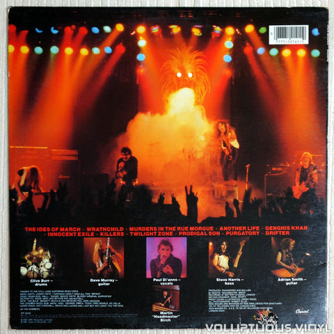 Iron Maiden ‎– Killers  - Vinyl Record - Back Cover