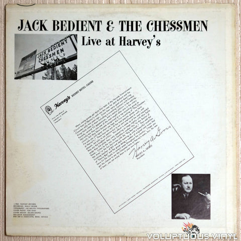 Jack Bedient And The Chessmen ‎– Live At Havey's - Vinyl Record - Back Cover