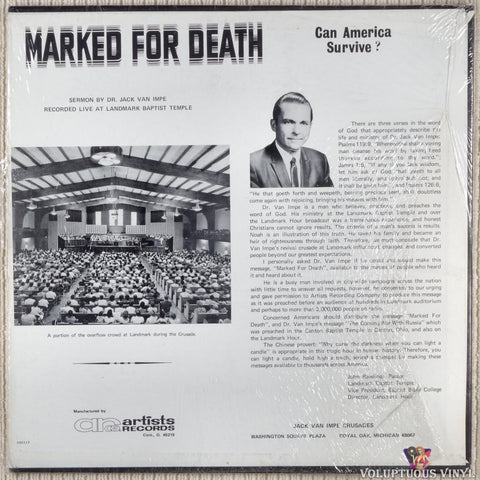 Jack Van Impe ‎– Marked For Death: Can America Survive? vinyl record back cover