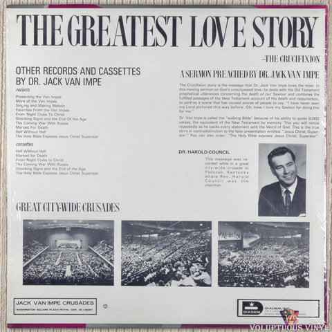 Jack Van Impe ‎– The Greatest Love Story vinyl record back cover