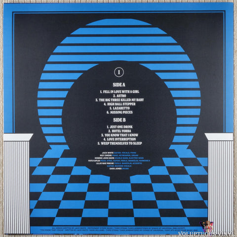 Jack White ‎– Live At The Masonic Temple album I vinyl record back cover