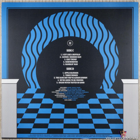 Jack White ‎– Live At The Masonic Temple album II vinyl record back cover
