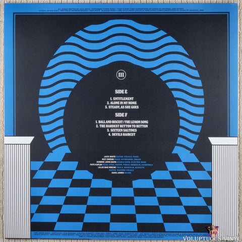 Jack White ‎– Live At The Masonic Temple album III vinyl record back cover