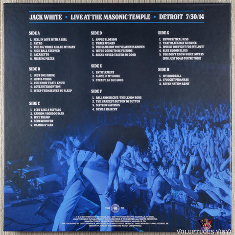Jack White ‎– Live At The Masonic Temple vinyl record box set back cover