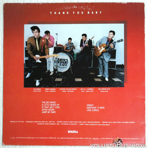 The James Harman Band ‎– Thank You Baby - Vinyl Record - Back Cover