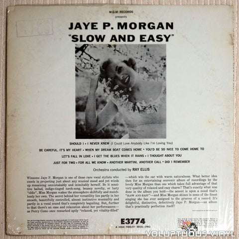 Jaye P. Morgan ‎– Slow And Easy - Vinyl Record - Back Cover