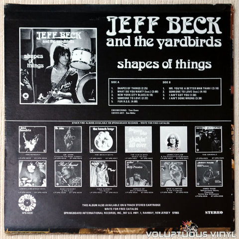 Jeff Beck And The Yardbirds ‎– Shapes Of Things vinyl record back cover