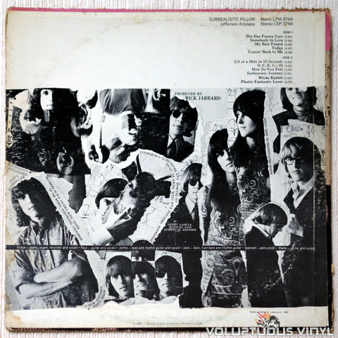 Jefferson Airplane ‎– Surrealistic Pillow vinyl record back cover
