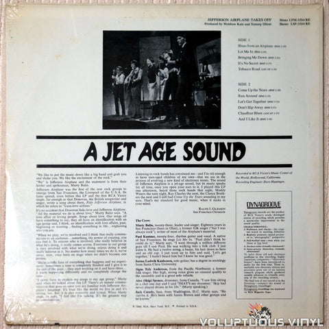 Jefferson Airplane ‎– Takes Off - Vinyl Record - Back Cover