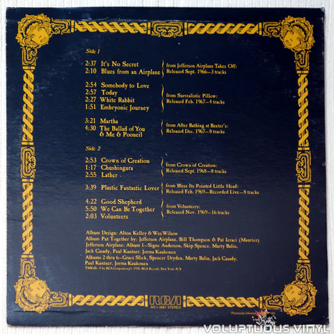 Jefferson Airplane ‎– The Worst Of Jefferson Airplane vinyl record back cover