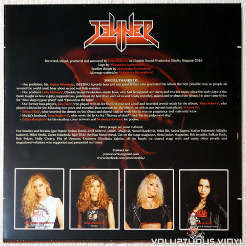 Jenner ‎– To Live Is To Suffer vinyl record inner sheet