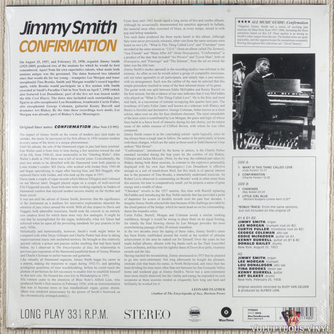 Jimmy Smith ‎– Confirmation vinyl record back cover