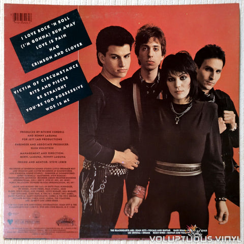 Joan Jett & The Blackhearts ‎– I Love Rock 'N Roll vinyl record back cover