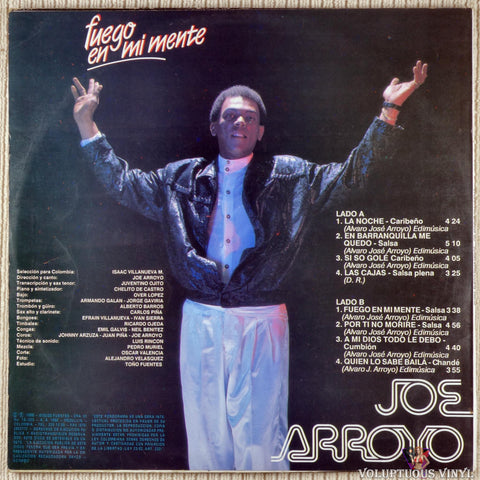 Joe Arroyo Y La Verdad ‎– Fuego En Mi Mente vinyl record back cover