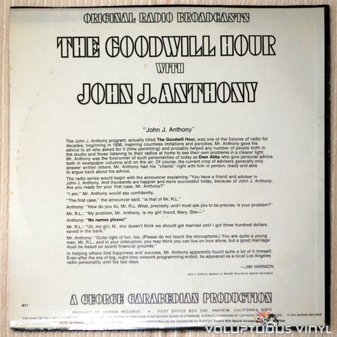 John J. Anthony ‎– The Goodwill Hour With John J. Anthony - Vinyl Record - Back Cover