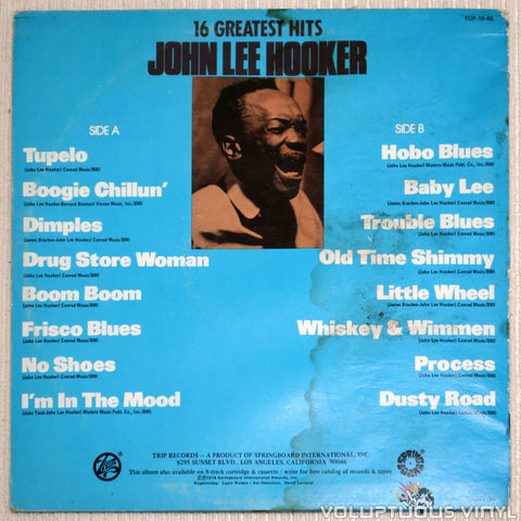 John Lee Hooker ‎– 16 Greatest Hits - Vinyl Record - Back Cover