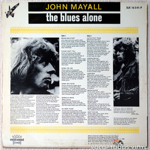 John Mayall ‎– The Blues Alone vinyl record back cover