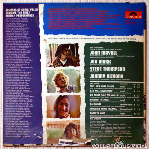 John Mayall ‎– The Turning Point - Vinyl Record - Back Cover