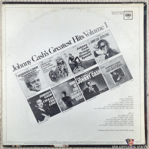 Johnny Cash ‎– Greatest Hits Volume 1 vinyl record back cover