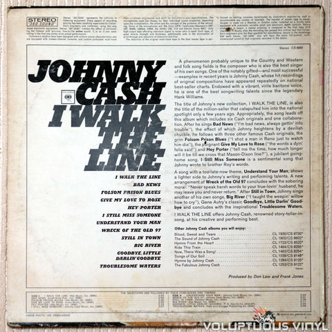 Johnny Cash ‎– I Walk The Line - Vinyl Record - Back Cover