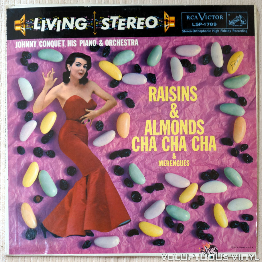 Johnny Conquet, His Piano & Orchestra ‎– Raisins & Almonds Cha Cha Cha - Vinyl Record - Front Cover