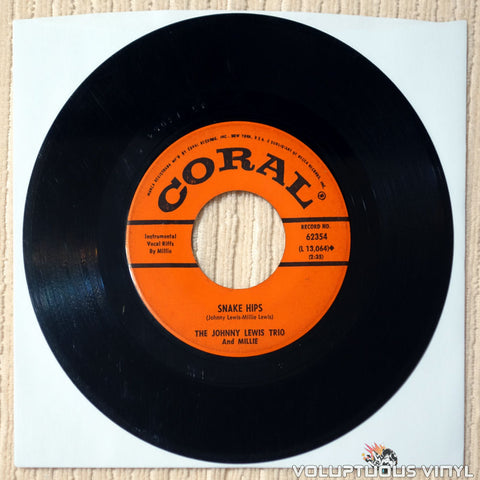 "The Johnny Lewis Trio And Millie ‎– Snake Hips / Blues On The Rocks (1963) 7"" Single"