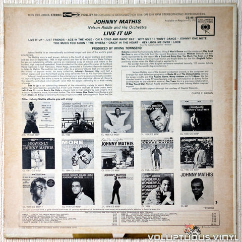 Johnny Mathis ‎– Live It Up! vinyl record back cover