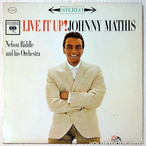 Johnny Mathis ‎– Live It Up! vinyl record front cover