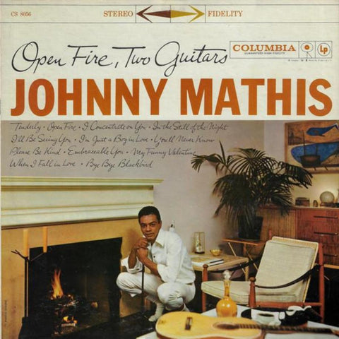 Johnny Mathis ‎– Open Fire, Two Guitars vinyl record front cover