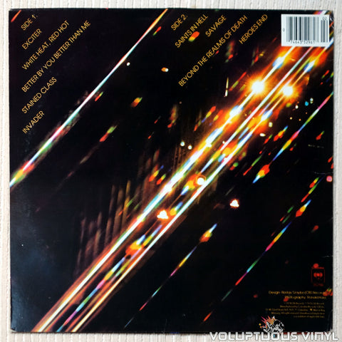 Judas Priest ‎– Stained Class vinyl record back cover