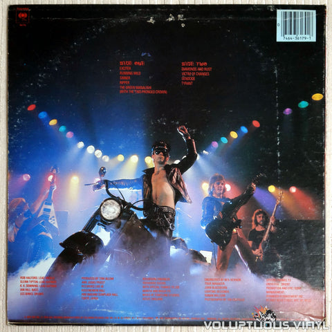 Judas Priest ‎– Unleashed In The East (Live In Japan) - Vinyl Record - Back Cover