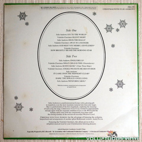 Julie Andrews & The Yuletide Choristers ‎– Christmas With Julie Andrews - Vinyl Record - Back Cover
