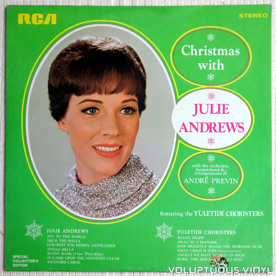 Julie Andrews & The Yuletide Choristers ‎– Christmas With Julie Andrews - Vinyl Record - Front Cover