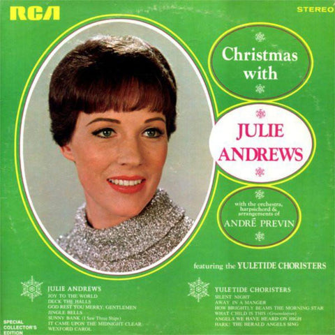 Julie Andrews With André Previn Featuring The Yuletide Choristers ‎– Christmas With Julie Andrews vinyl record front cover