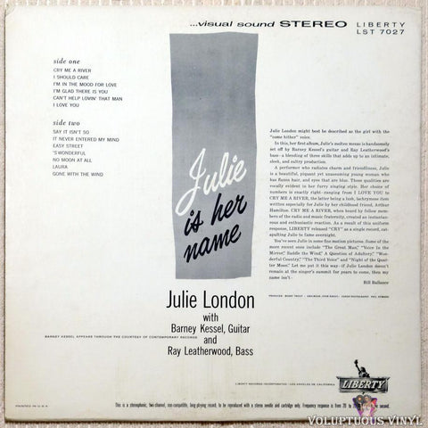 Julie London ‎– Julie Is Her Name vinyl record back cover