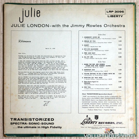 Julie London ‎– Julie - Vinyl Record - Back Cover