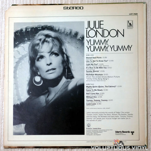 Julie London ‎– Yummy, Yummy, Yummy - Vinyl Record - Back Cover