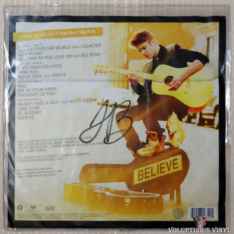 Justin Bieber ‎– Believe vinyl record autographed lyric sheet