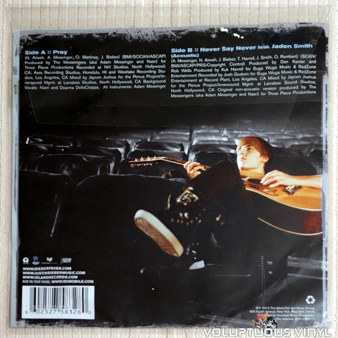 Justin Bieber ‎– Pray / Never Say Never - Vinyl Record - Back Cover