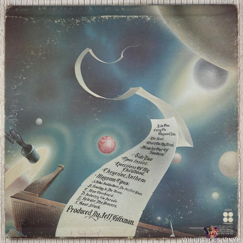 Kansas ‎– Leftoverture vinyl record back cover