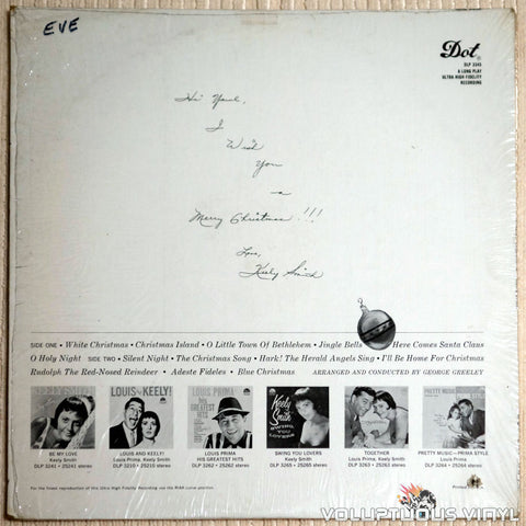 Keely Smith ‎– A Keely Christmas - Vinyl Record - Back Cover