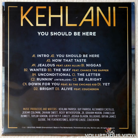 Kehlani ‎– You Should Be Here vinyl record back cover