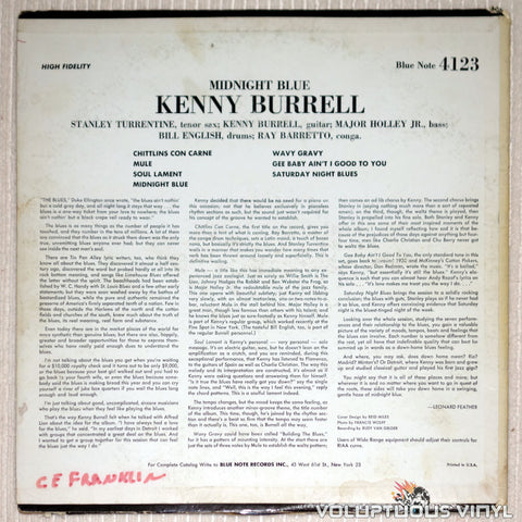 Kenny Burrell ‎– Midnight Blue - Vinyl Record - Back Cover
