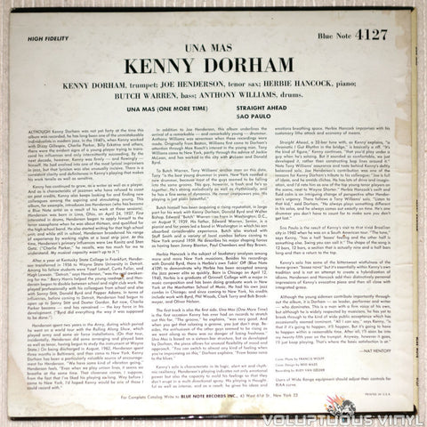 Kenny Dorham ‎– Una Mas - Vinyl Record - Blue Note - Back Cover