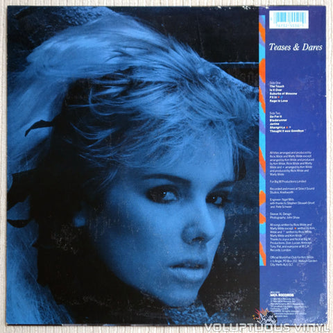 Kim Wilde ‎– Teases & Dares - Vinyl Record - Back Cover