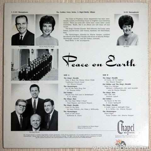 The King's Heralds, Del Delker, The Hymnsingers, The King's Men ‎– Peace On Earth - Vinyl Record - Back Cover
