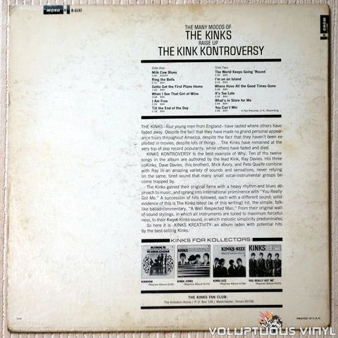 The Kinks ‎– The Kink Kontroversy - Vinyl Record - Back Cover