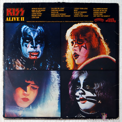 Kiss ‎– Alive II vinyl record back cover
