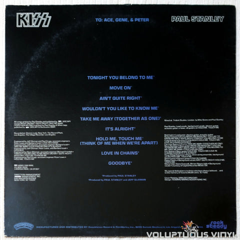 Kiss, Paul Stanley ‎– Paul Stanley vinyl record back cover